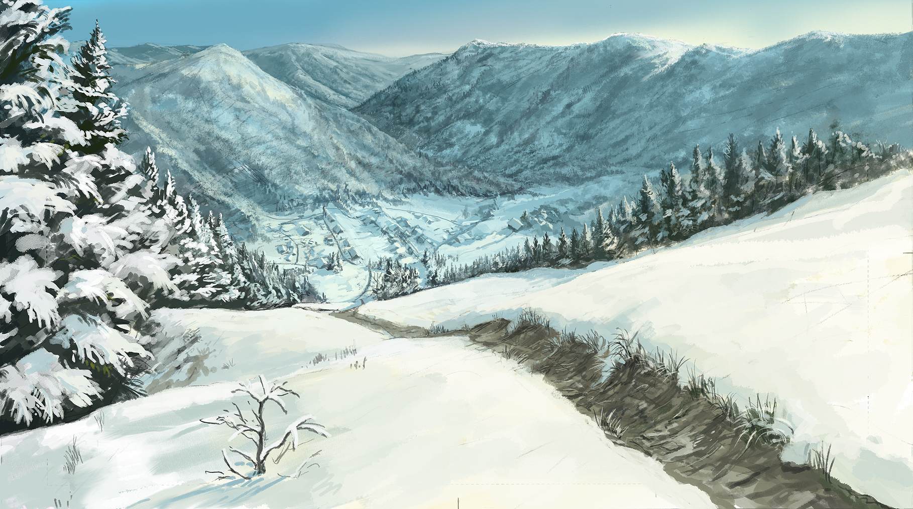 Forest Landscape Original Scenic Snow Youshimizu Animeflow
