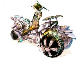 motorbike, girl, hat