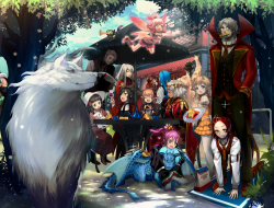 dragon , elf , fairy , food , glasses , hat , pixiv_fantasia , tie , tree , wolf