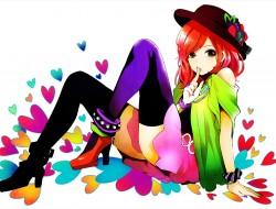 red_hair , thighhighs , v…