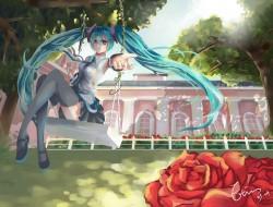 hatsune_miku , rose , thi…