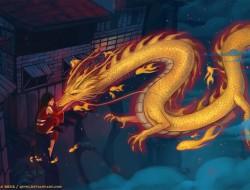 building, dragon, night, …