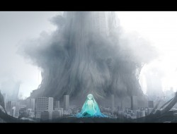 blue hair, city, hatsune …