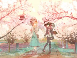 girls, cherry blossoms, m…