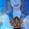 brown hair, seifuku, sky,…