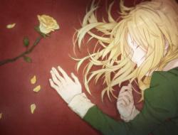 blonde hair, flowers, gun…