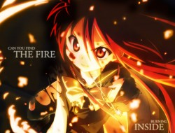 Fire, girl, weapon, sword…
