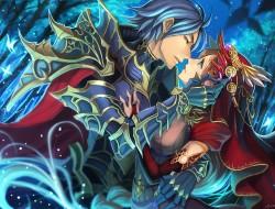 armor, blue hair, brown h…