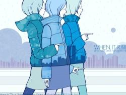 blue hair, kunie kanbara