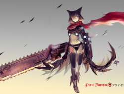 animal ears, armor, black…