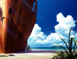 beach, boat, clouds, orig…