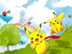 clouds, grass, pikachu, p…