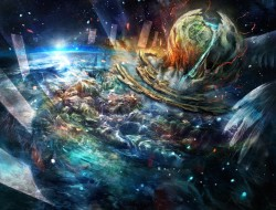 miyina, pixiv fantasia, planet, scenic, space, waterfall