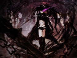 armor, black hair, black rock shooter, boots, chain, insane black rock shooter, kuroi mato, kxxxxxxxxxxx, purple e