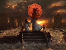 japan, ruins, umbrellas, …