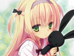blonde hair, bunny, green…