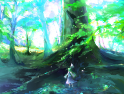 dress, forest, green hair…