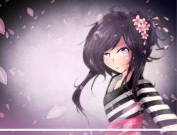 black hair, flowers, gree…