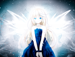 blonde hair, blue eyes, d…