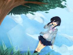 black hair, clouds, kneeh…