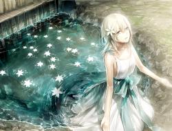 blonde hair, dress, flowe…