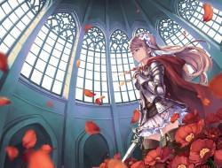 sword, girl, armor, weapo…