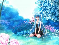 apple, blue hair, flowers…
