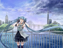 blue hair, city, clouds, …