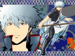 gintama, gray hair, red e…