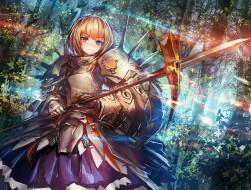 armor, blonde hair, blue …