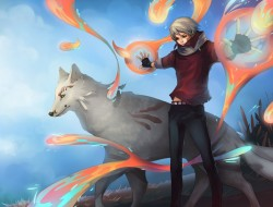 animal artifacts, original, sky, unodu, white hair, wolf, yellow eyes