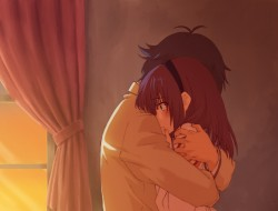 angel beats, fumichi, hug…