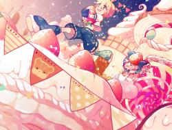 blonde_hair, bow, cake, g…