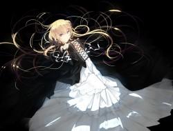 black, blonde_hair, blue_…