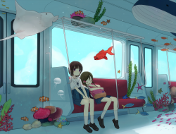 girls, animal, fish, mitu…