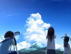 black_hair, clouds, minam…