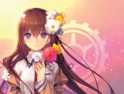 blush, brown_hair, flower…