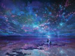 An ocean under the sky