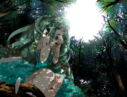 dress, forest, hatsune_mi…