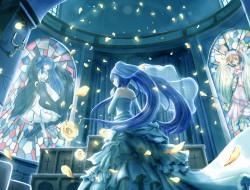 blue hair, petals, blue, …