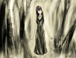 brown_eyes, dress, forest…