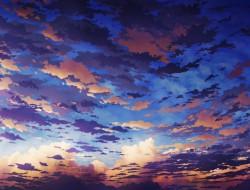 sky, sunset, clouds