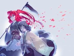 2girls, flowers, hieda_no…