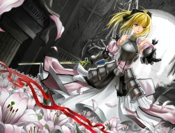armor, blonde hair, cross…