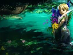 blonde hair, boat, dress,…