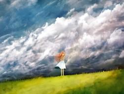 bou nin, clouds, dress, g…