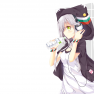 drink, gray hair, headpho…