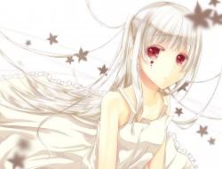 dress, gray hair, leaves,…