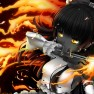 black hair, fire, hakurei…