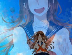 brown hair, seifuku, sky,…